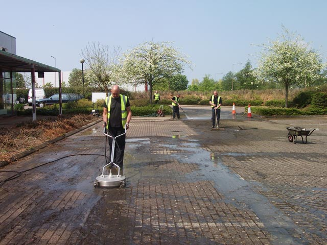 car park cleaning before